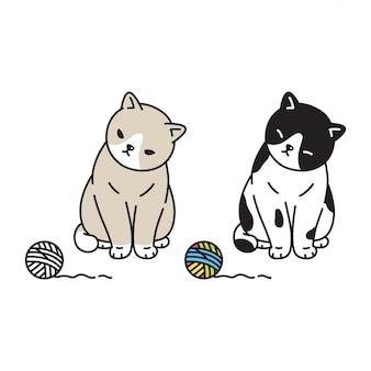 Katzenkätzchenkarikaturgarnballspielzeug