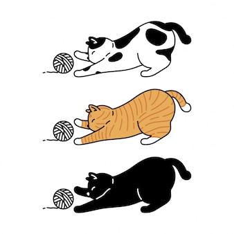 Katzenkätzchenkarikaturspielzeuggarnball