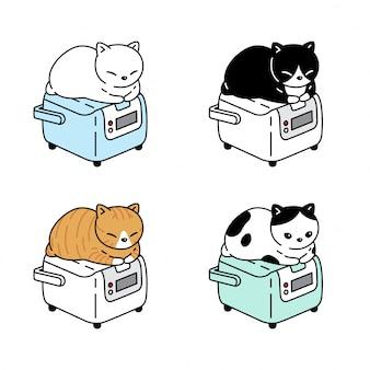 Katzenkarikaturcharakter-kätzchenkaliko-reiskocher