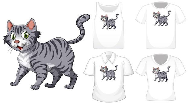 Katzenkarikaturfigur mit satz verschiedene hemden lokalisiert