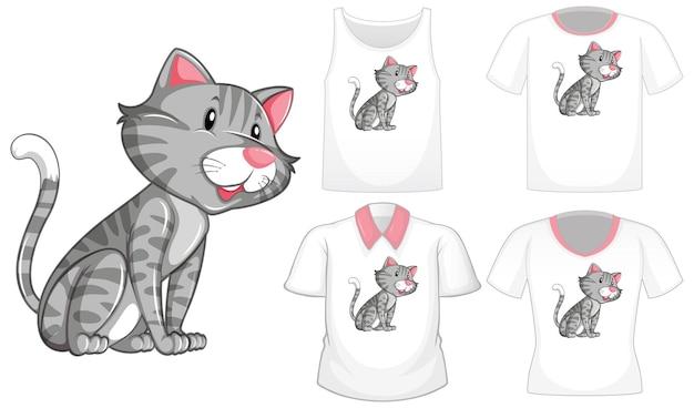 Katzenkarikaturfigur mit satz von verschiedenen hemden lokalisiert