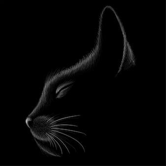 Katzenkopf hatte in gezeichnetem stil