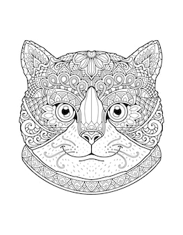 Katzenkopf malvorlagen mandala design. druckdesign.
