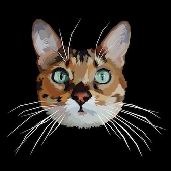 Katzenkopfikone auf polygonaler geometrischer dreieckart