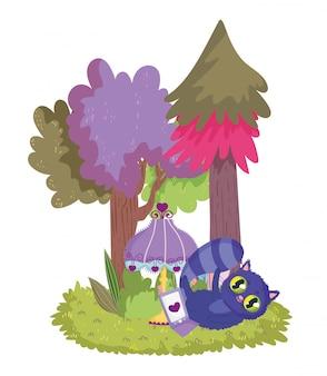 Katzenlampe telefon laub gras bäume cartoon