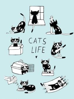 Katzenleben-comic-gekritzelillustration. hand gezeichnetes kätzchen in verschiedenen stellungen.