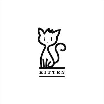 Katzenlogo einfache süße linie stehendes kätzchen