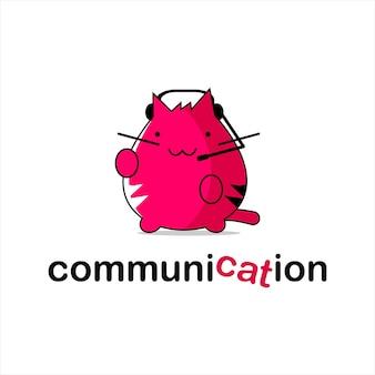 Katzenlogo spaß kommunikationsdesign-vorlage