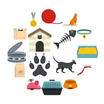 Katzenpflege-werkzeugikonen eingestellt in flache art
