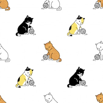 Katzenpfote kätzchen nahtlose muster garn ball cartoon