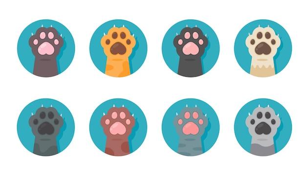 Katzenpfotenset verschiedene arten niedliche kätzchenpfote isoliert