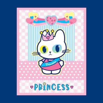 Katzenprinzessin-plakatillustration mit niedlichem rosa farbhintergrunddesign