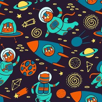 Katzenraummuster nettes kosmisches tier, das im raumanzug und in der rakete zwischen den planeten der galaxie-karikatur reist