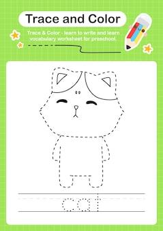 Katzenspur und farbvorschularbeitsblattspur