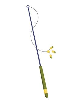 Katzenzubehör. lustiges spielzeuggerät zum spielen mit tieren. bunte illustration für tierhandlung. kiten-pflege-symbol.