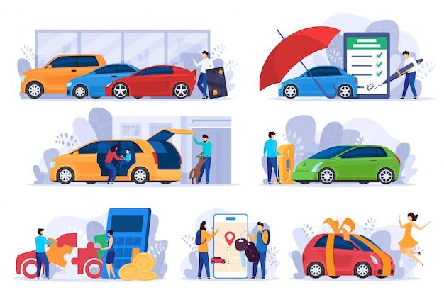Kauf eines neuen autos, versicherung und geldsparkonzept, illustration