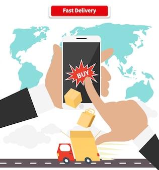 Kauf und schnelle lieferung per smartphone