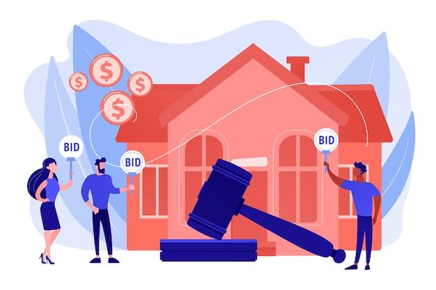 Kauf und verkauf von immobilien. auktionshaus, exklusive gebote hier, fortlaufende gebotsabwicklung, geschäft, das auktionskonzept betreibt. isolierte illustration des rosa korallenblauvektors