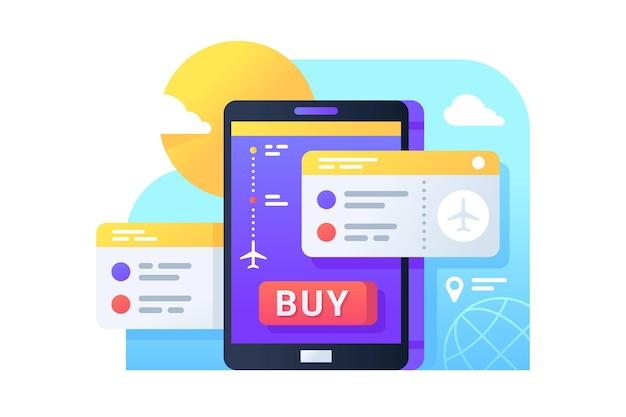 Kauf von flugtickets mit dem handy für den online-kauf. isoliertes symbolkonzept des mobiltelefons unter verwendung der app für die buchung der flugreise.