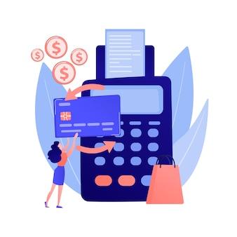 Kauf zahlungsabwicklung. kreditkartentransaktion, finanzgeschäft, elektronische überweisung. käufer mit e-payment mit kontaktloser kreditkarte.