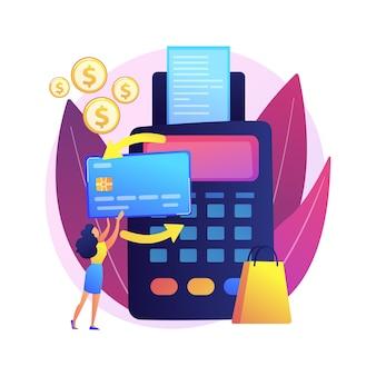 Kauf zahlungsabwicklung. kreditkartentransaktion, finanzgeschäft, elektronische überweisung. käufer mit e-payment mit kontaktloser kreditkarte