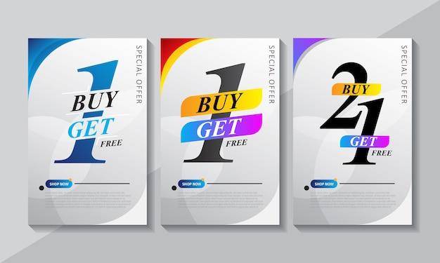 Kaufen sie 1 erhalten 1, banner vorlage design
