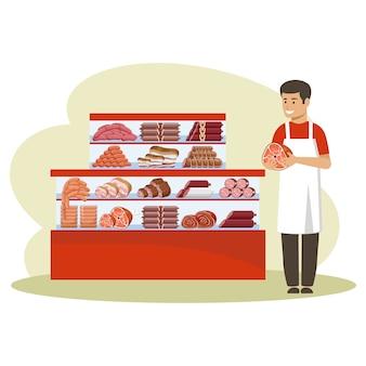 Kaufen sie fleischprodukte. zähler. verkäufer hält einen schinken.