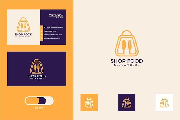 Kaufen sie lebensmittel mit logo-design im linienstil und visitenkarte ein