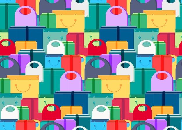 Kaufen sie nahtlose muster aus einkaufstüten, schachteln und paketen mit produkten. verkauf-banner. regale speichern mit angebot für druck, verpackung, flyer, aufkleber, poster. vektor