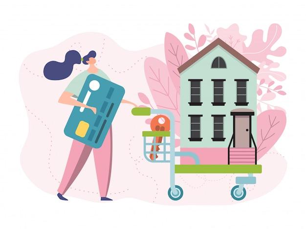Kaufen sie neue hauptillustration, flache winzige karikaturfrau-besitzerin, die einkaufswagen mit haus schiebt, käufer leute, die wohnung kaufen