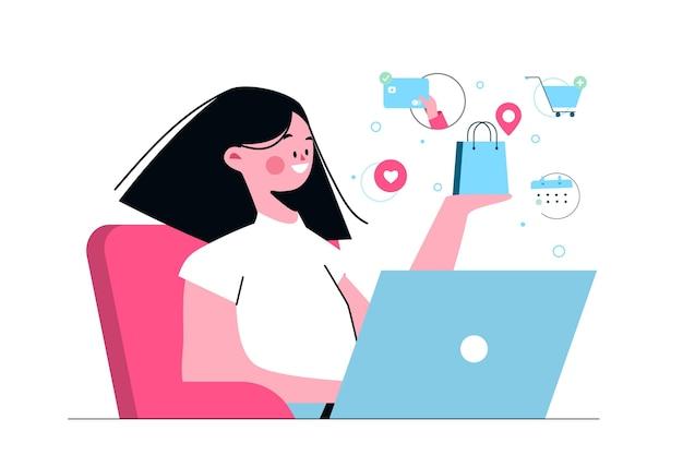Kaufen sie online-konzeptillustration