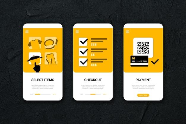Kaufen sie online-onboarding-app-bildschirme