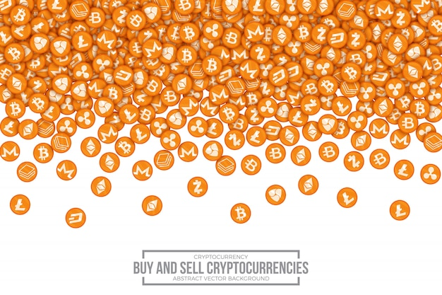 Kaufen sie verkaufs-cryptocurrencies-konzeptvektor-illustration