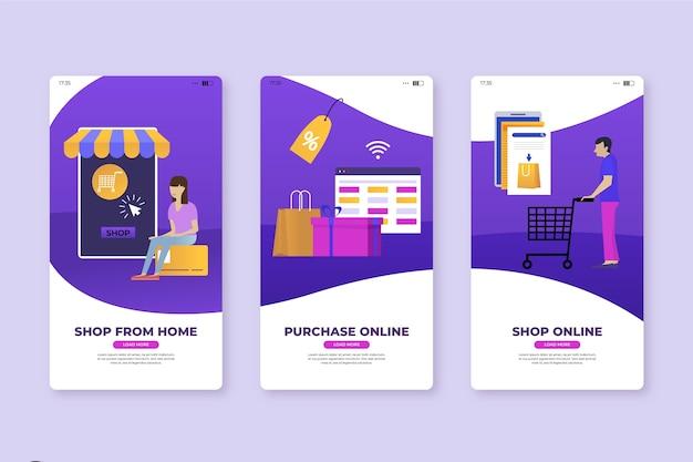 Kaufen sie von zu hause aus mobile app-bildschirme
