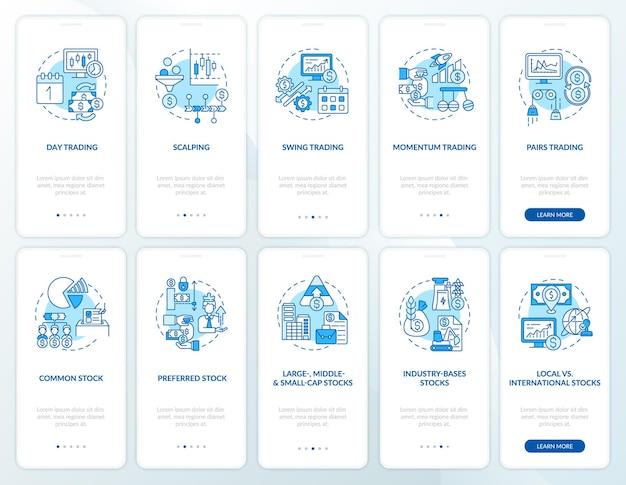 Kaufen, verkaufen von assets auf dem bildschirm der mobilen app-seite mit festgelegten konzepten