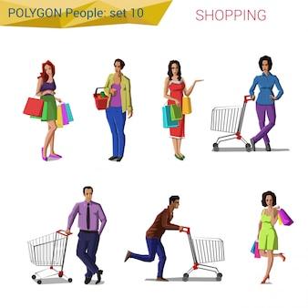 Kaufende gesetzte illustrationen der polygonalen artleute.
