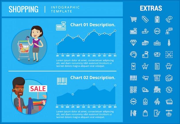 Kaufende infographic schablone, elemente und ikonen