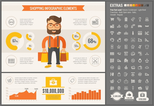 Kaufende infographic schablone und ikonen des flachen designs eingestellt