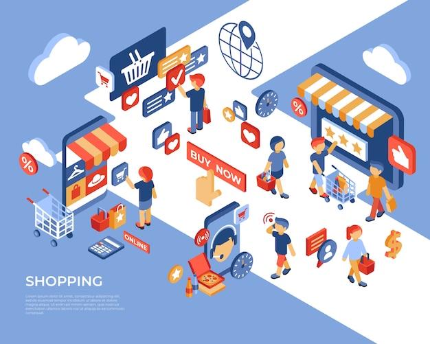 Kaufende isometrische zielseite des online-shops mit glücklichen kunden