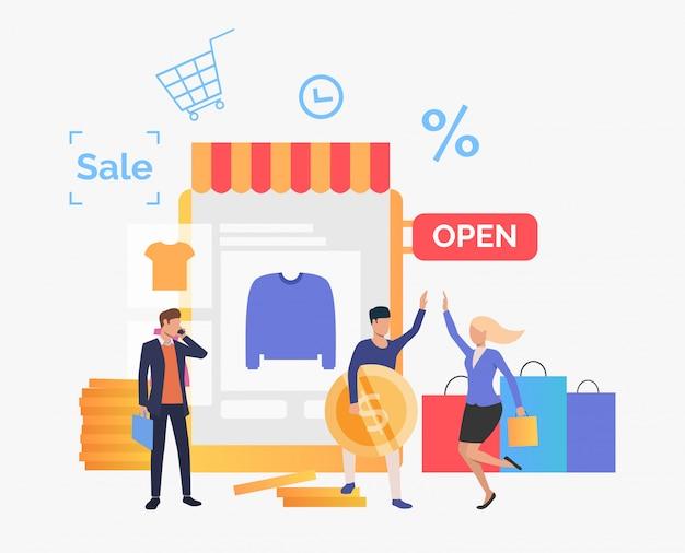 Kaufende kleidung der glücklichen menschen im online-shop