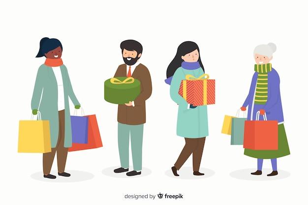 Kaufende weihnachtsgeschenke der leute auf weißem hintergrund