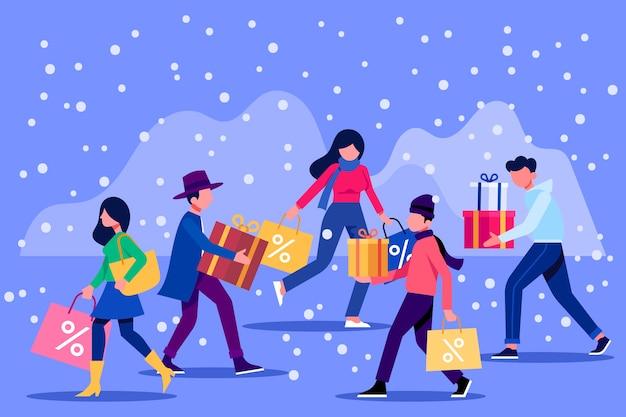 Kaufender weihnachtsgeschenksatz der leute