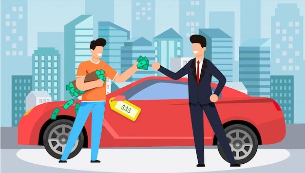 Kaufendes auto für gewinnende geld-vektor-illustration.