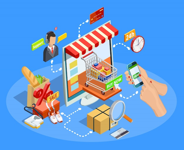 Kaufendes e-commerce-konzept-isometrisches plakat