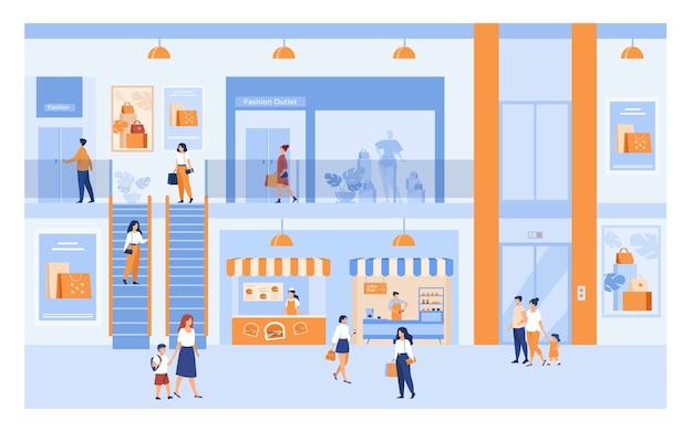 Kaufhaus interieur mit kunden. menschen, die im einkaufszentrum einkaufen, durch gebäudehallen an fenstern vorbei gehen und taschen tragen. für markt, verkauf, rabatt s.