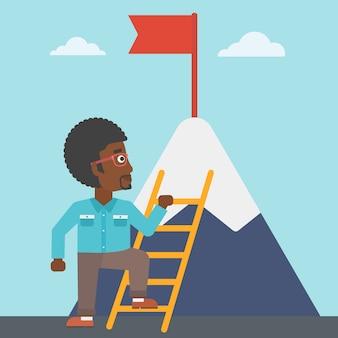Kaufmann klettern am berg.
