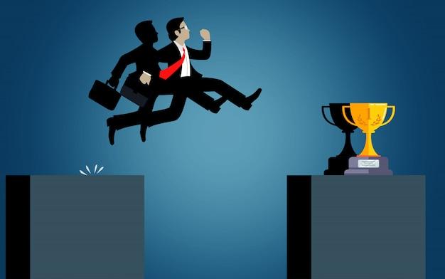 Kaufmann sprung über hindernisse abgrund gehen zum ziel. geschäftlicher erfolg. herausforderung, risiko und überwindung von problemen oder hindernissen. cartoon, vektor-illustration.