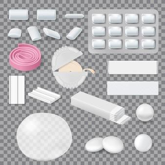 Kaugummi-modelle, streifen, tabletten in blisterpackung und roll-in-behälter