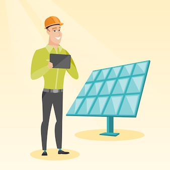 Kaukasische arbeitskraft des sonnenkraftwerks.