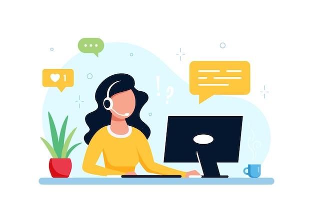 Kaukasische frau mit laptop und kopfhörern mit mikrofon. technischer support, assistenz, callcenter und kundenservicekonzept. vektorillustration im flachen stil